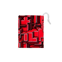 Background With Red Texture Blocks Drawstring Pouches (xs)  by Amaryn4rt