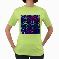 Blue Bee Hive Pattern Women s Green T Shirt by Amaryn4rt