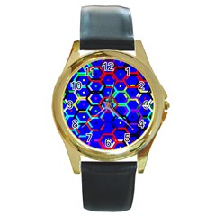Blue Bee Hive Pattern Round Gold Metal Watch by Amaryn4rt