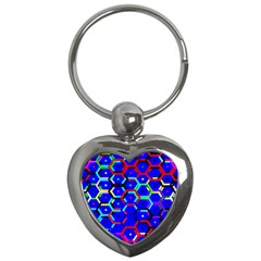 Blue Bee Hive Pattern Key Chains (heart)  by Amaryn4rt