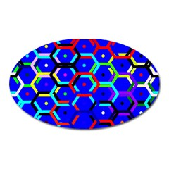 Blue Bee Hive Pattern Oval Magnet by Amaryn4rt