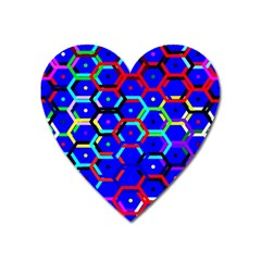 Blue Bee Hive Pattern Heart Magnet by Amaryn4rt