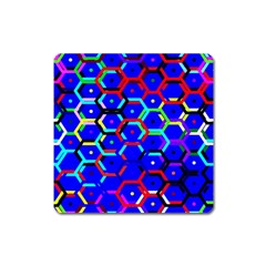Blue Bee Hive Pattern Square Magnet by Amaryn4rt