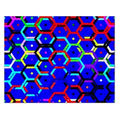 Blue Bee Hive Pattern Rectangular Jigsaw Puzzl by Amaryn4rt
