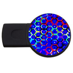 Blue Bee Hive Pattern Usb Flash Drive Round (4 Gb) by Amaryn4rt
