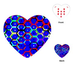 Blue Bee Hive Pattern Playing Cards (heart)  by Amaryn4rt