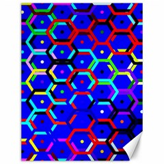 Blue Bee Hive Pattern Canvas 12  X 16   by Amaryn4rt