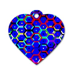 Blue Bee Hive Pattern Dog Tag Heart (two Sides) by Amaryn4rt