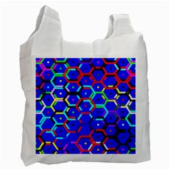 Blue Bee Hive Pattern Recycle Bag (two Side)  by Amaryn4rt