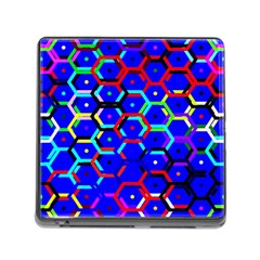 Blue Bee Hive Pattern Memory Card Reader (square) by Amaryn4rt