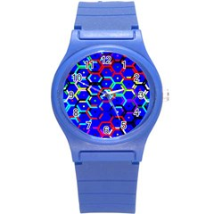 Blue Bee Hive Pattern Round Plastic Sport Watch (s) by Amaryn4rt