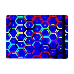 Blue Bee Hive Pattern Apple Ipad Mini Flip Case by Amaryn4rt