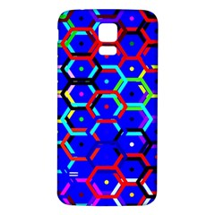 Blue Bee Hive Pattern Samsung Galaxy S5 Back Case (white) by Amaryn4rt