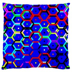 Blue Bee Hive Pattern Standard Flano Cushion Case (one Side) by Amaryn4rt