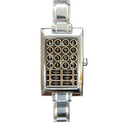 Black And Gold Buttons And Bars Depicting The Signs Of The Astrology Symbols Rectangle Italian Charm Watch by Amaryn4rt