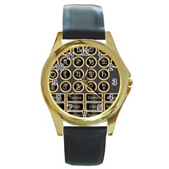 Black And Gold Buttons And Bars Depicting The Signs Of The Astrology Symbols Round Gold Metal Watch by Amaryn4rt