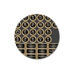 Black And Gold Buttons And Bars Depicting The Signs Of The Astrology Symbols Magnet 3  (round) by Amaryn4rt
