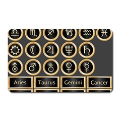 Black And Gold Buttons And Bars Depicting The Signs Of The Astrology Symbols Magnet (rectangular) by Amaryn4rt