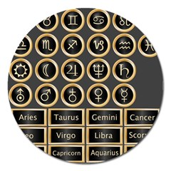 Black And Gold Buttons And Bars Depicting The Signs Of The Astrology Symbols Magnet 5  (round) by Amaryn4rt