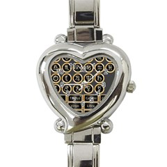 Black And Gold Buttons And Bars Depicting The Signs Of The Astrology Symbols Heart Italian Charm Watch by Amaryn4rt