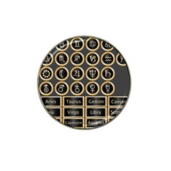 Black And Gold Buttons And Bars Depicting The Signs Of The Astrology Symbols Hat Clip Ball Marker (4 Pack) by Amaryn4rt