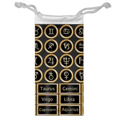 Black And Gold Buttons And Bars Depicting The Signs Of The Astrology Symbols Jewelry Bag by Amaryn4rt