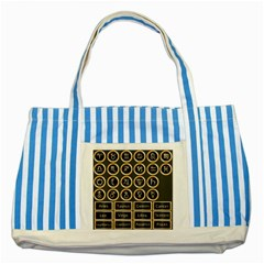 Black And Gold Buttons And Bars Depicting The Signs Of The Astrology Symbols Striped Blue Tote Bag by Amaryn4rt