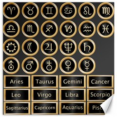 Black And Gold Buttons And Bars Depicting The Signs Of The Astrology Symbols Canvas 16  X 16   by Amaryn4rt