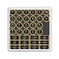 Black And Gold Buttons And Bars Depicting The Signs Of The Astrology Symbols Memory Card Reader (square)  by Amaryn4rt