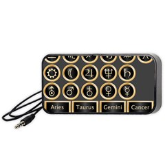 Black And Gold Buttons And Bars Depicting The Signs Of The Astrology Symbols Portable Speaker (black) by Amaryn4rt