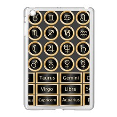 Black And Gold Buttons And Bars Depicting The Signs Of The Astrology Symbols Apple Ipad Mini Case (white) by Amaryn4rt