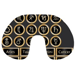 Black And Gold Buttons And Bars Depicting The Signs Of The Astrology Symbols Travel Neck Pillows by Amaryn4rt