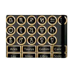 Black And Gold Buttons And Bars Depicting The Signs Of The Astrology Symbols Ipad Mini 2 Flip Cases by Amaryn4rt