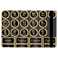 Black And Gold Buttons And Bars Depicting The Signs Of The Astrology Symbols Ipad Air Flip by Amaryn4rt