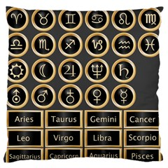 Black And Gold Buttons And Bars Depicting The Signs Of The Astrology Symbols Large Flano Cushion Case (two Sides) by Amaryn4rt
