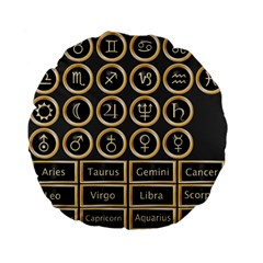 Black And Gold Buttons And Bars Depicting The Signs Of The Astrology Symbols Standard 15  Premium Flano Round Cushions by Amaryn4rt