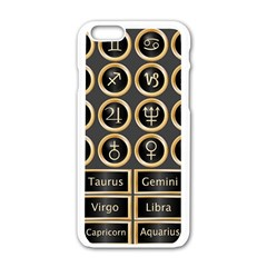 Black And Gold Buttons And Bars Depicting The Signs Of The Astrology Symbols Apple Iphone 6/6s White Enamel Case by Amaryn4rt