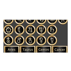 Black And Gold Buttons And Bars Depicting The Signs Of The Astrology Symbols Satin Shawl by Amaryn4rt