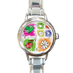 A Set Of Watercolour Icons Round Italian Charm Watch by Amaryn4rt
