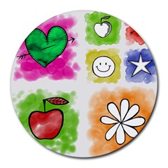A Set Of Watercolour Icons Round Mousepads by Amaryn4rt
