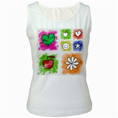 A Set Of Watercolour Icons Women s White Tank Top by Amaryn4rt