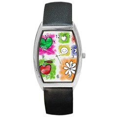 A Set Of Watercolour Icons Barrel Style Metal Watch by Amaryn4rt