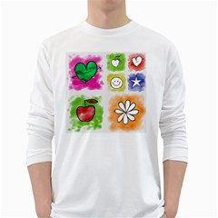A Set Of Watercolour Icons White Long Sleeve T Shirts by Amaryn4rt
