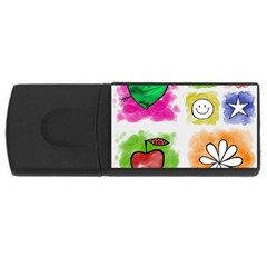 A Set Of Watercolour Icons Usb Flash Drive Rectangular (4 Gb) by Amaryn4rt
