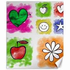 A Set Of Watercolour Icons Canvas 8  X 10  by Amaryn4rt