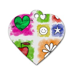 A Set Of Watercolour Icons Dog Tag Heart (two Sides) by Amaryn4rt