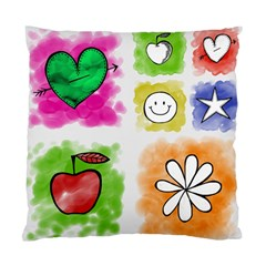 A Set Of Watercolour Icons Standard Cushion Case (one Side) by Amaryn4rt