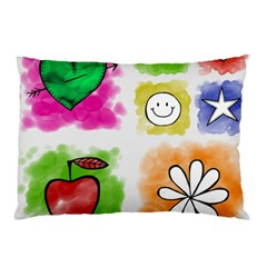 A Set Of Watercolour Icons Pillow Case (two Sides) by Amaryn4rt