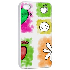 A Set Of Watercolour Icons Apple Iphone 4/4s Seamless Case (white) by Amaryn4rt