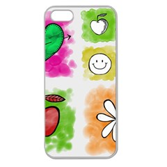 A Set Of Watercolour Icons Apple Seamless Iphone 5 Case (clear) by Amaryn4rt